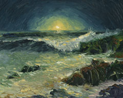 night moon seascape oil painting
