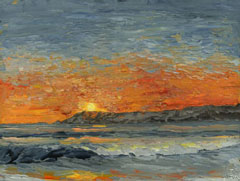 orange sky sunset ocean painting