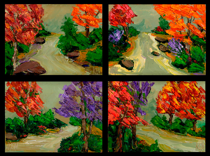 fall color landscape painting