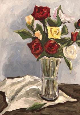 Rose Bouquet STill Life Oil Painting
