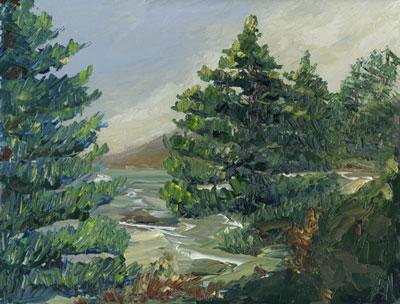Washington state coast with painting knives
