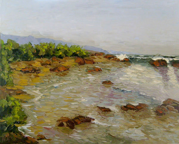 northern california inlet oil painting