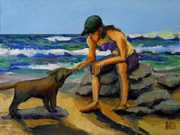 beach dog oil painting