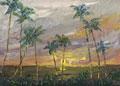 hawaii coast palms oil painting