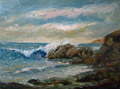 crashing rocks surf painting