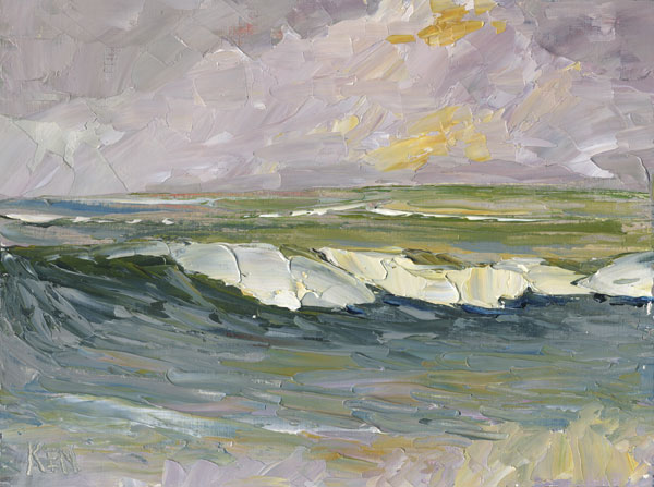 purple sky seascape painting