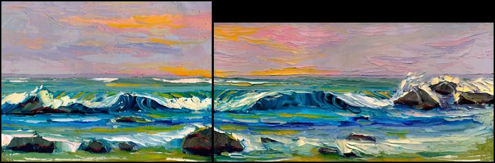 wave curl paintings
