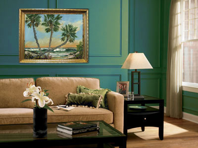 seascape oil painting in frame home interior design