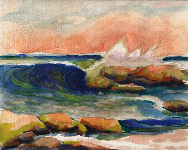 seascapes watercolors paintings