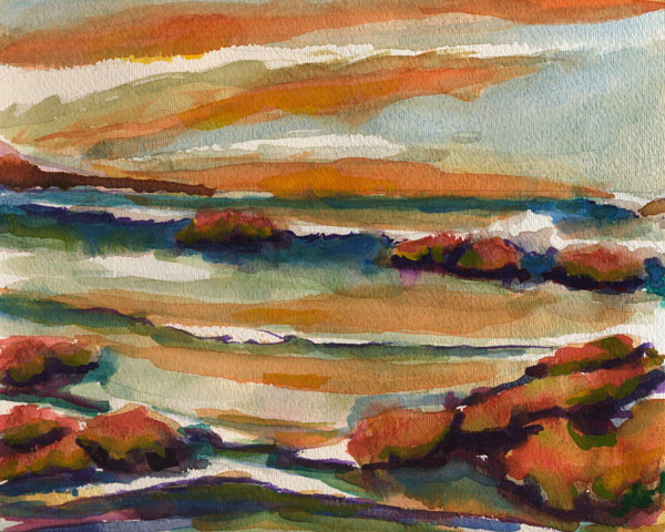 Shelter Cove Watercolor Painting