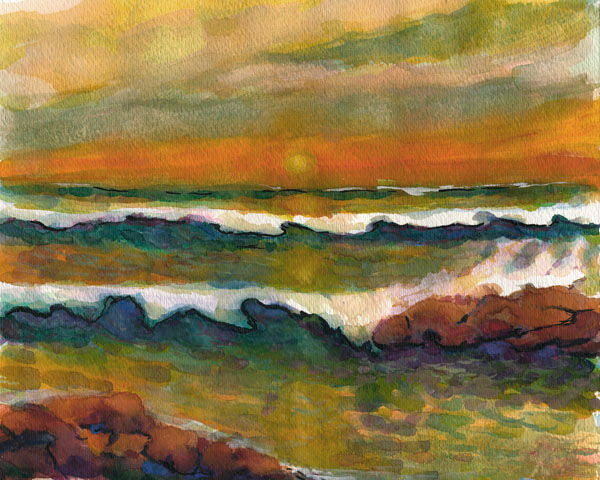SUNSET Watercolor Painting Seascape