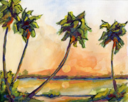 Seascape Palm Watercolor