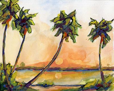 Seascape Palms Watercolor