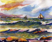 Sailing the Coast Watercolor Painting