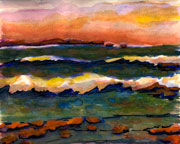 JETTY seascape watercolor painting