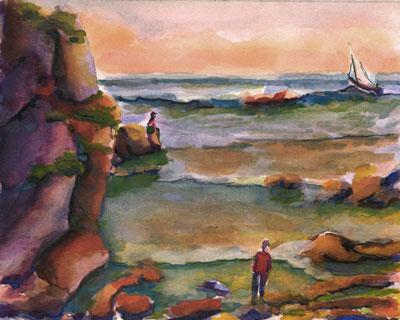 Seashore Watercolor painting