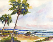 Ocean palms watercolor painting