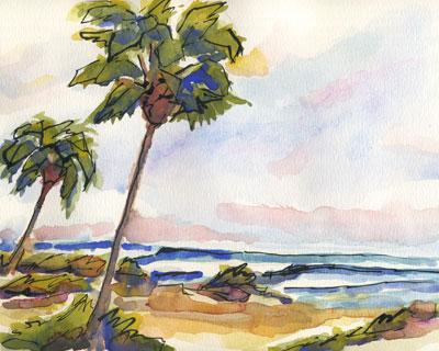 Ocean Palms Watercolor