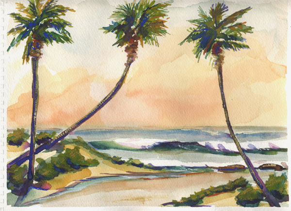 Seascape Watercolor Painting Palms