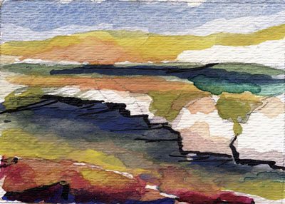 Seascape Watercolor Painting ACEO
