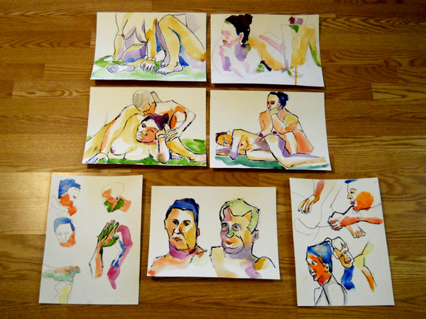life drawings watercolor